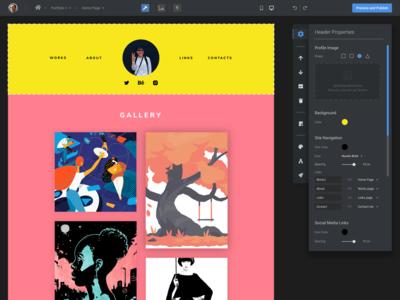 Portfolio builder product - Editor workspace