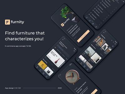 Furnity - eCommerce app concept minimal typography ux branding ui logo uxdesign ui  ux design uidesign concept