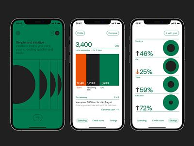 Spending clean concept swiss minimal uiux simple ios typography spending cash fintech finance branding interface interaction design app mobile ux ui