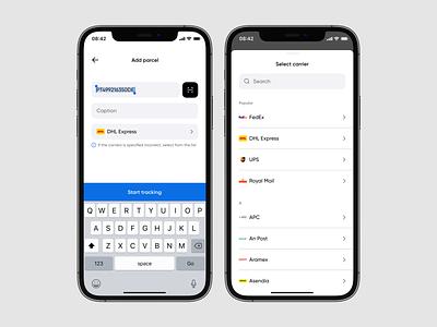 Add parcel parcel delivery minimal uiux clean concept simple ios interface interaction app mobile design ux ui