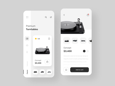 Shop App ecommerce music minimal clean uiux typography simple interface concept mobile ios interaction app ux ui design