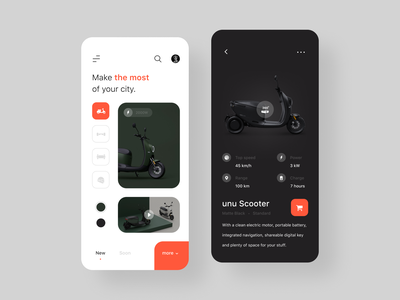 unu Scooter ecommerce uiux minimal clean typography simple interface concept mobile ios interaction app ux ui design