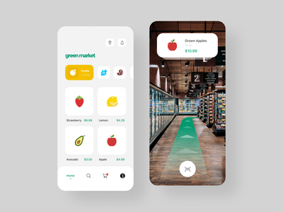 green market simple interface interaction concept ux ui mobile ios design app