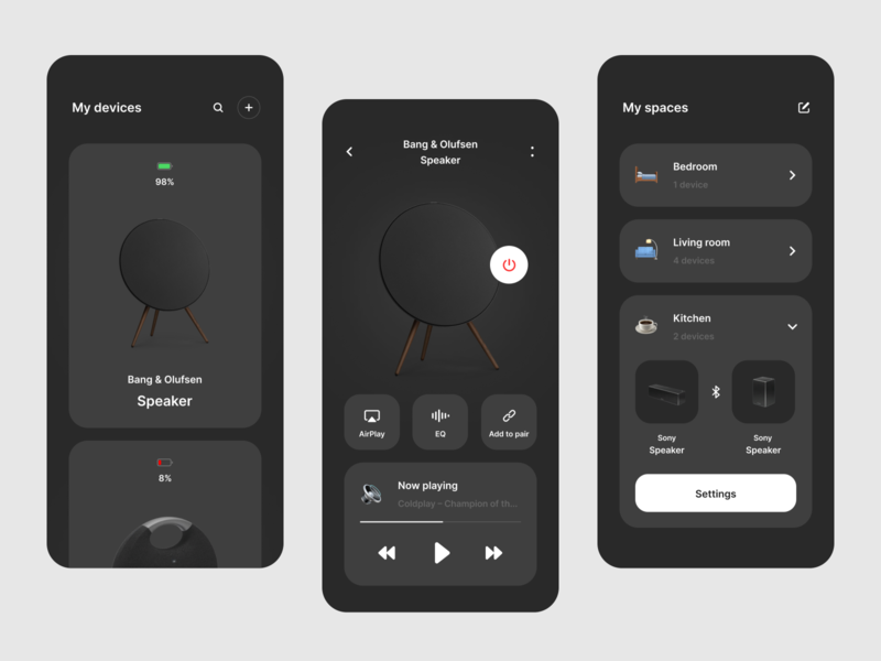 Sound control connect speaker smart control sound color uiux minimal typography clean simple interface interaction concept ux ui mobile ios design app