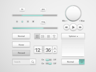Anwar Ui Kit ui kit spiner progress bar checkbox radiobutton search button player controls