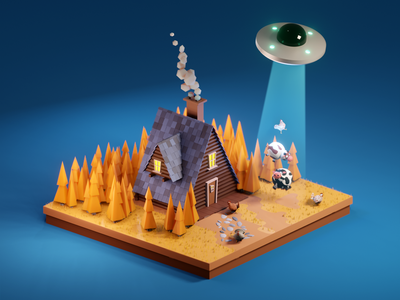 UFO takes cows illustraion cinema4d blender3d blender chicken low-poly lowpoly forest wood cow ufo