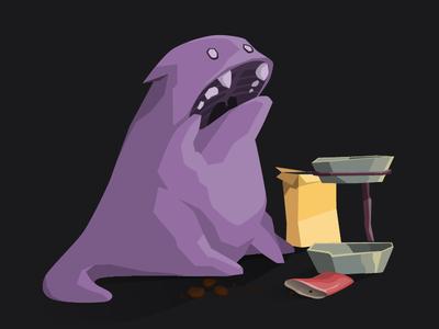 feed the animal - hunger animal feed monster cat pet hunger illustration mascot