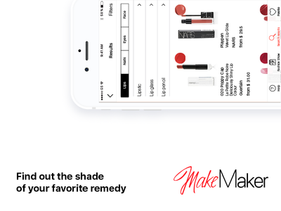 MakeMaker white red minimal makeup makemaker light iphone ios cosmetic app tags