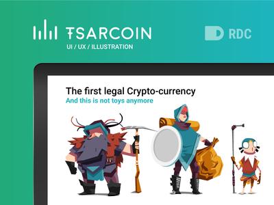 TSARCOIN landing page green crypto bitcoin currency cartoon minimal illustration tsarcoin