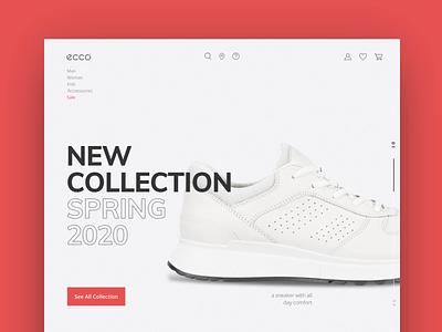 ecco animation title minimalistic minimal website design web website brand ux uiux ui redesign blackletter white red sneakers design chalange ecco