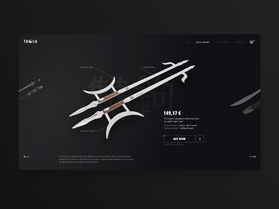 Hook sword chinese shop web uiuxdesign uiux ui weapon sword concept design concept black