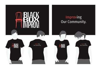 The Black Box Improv Theater Community Outreach t-shirt design.