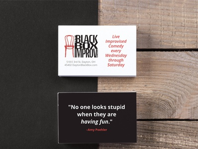 The Black Box Improv Theater promotional cards.