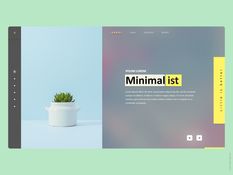About Page webpage design xd concept minimal