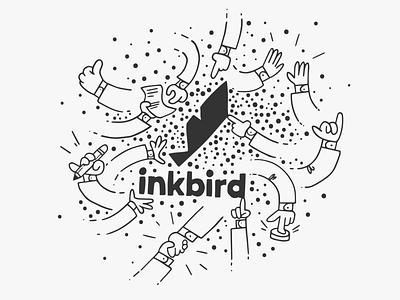 Fun Inkbird Marketing Design idenity brand branding design teamwork building highfive handshake illustrator comic fun hands typography minimal cartoon logo illustration vector design flat