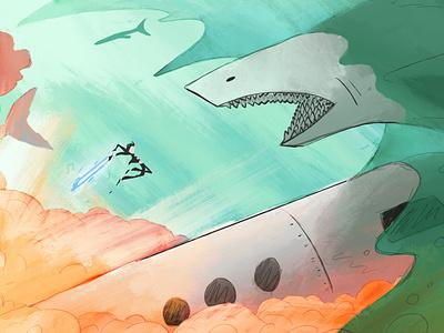 Elvis vs Shark applepencil pastel composition explosion shark color illustration