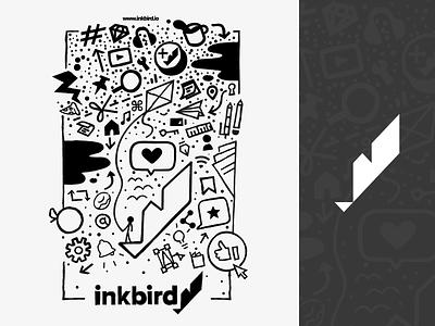 Inkbird Tee Shirt Artwork cartoon icon typography logo branding illustration vector design simple flat