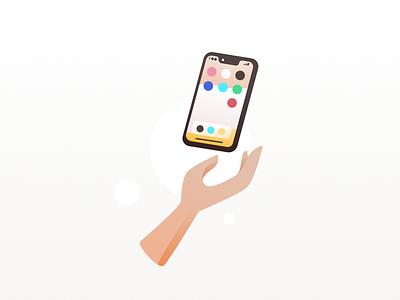 Minimal Phone Illustration ios iphone x app minimal cartoon pastel color illustration vector design simple flat