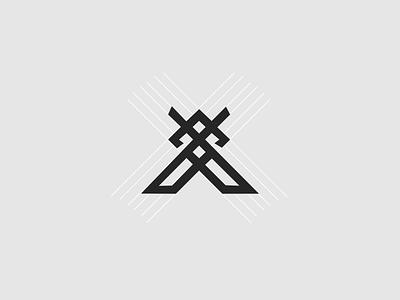 X + Swords sword logo x sword sketch app minimal icon logo branding illustration vector design simple flat
