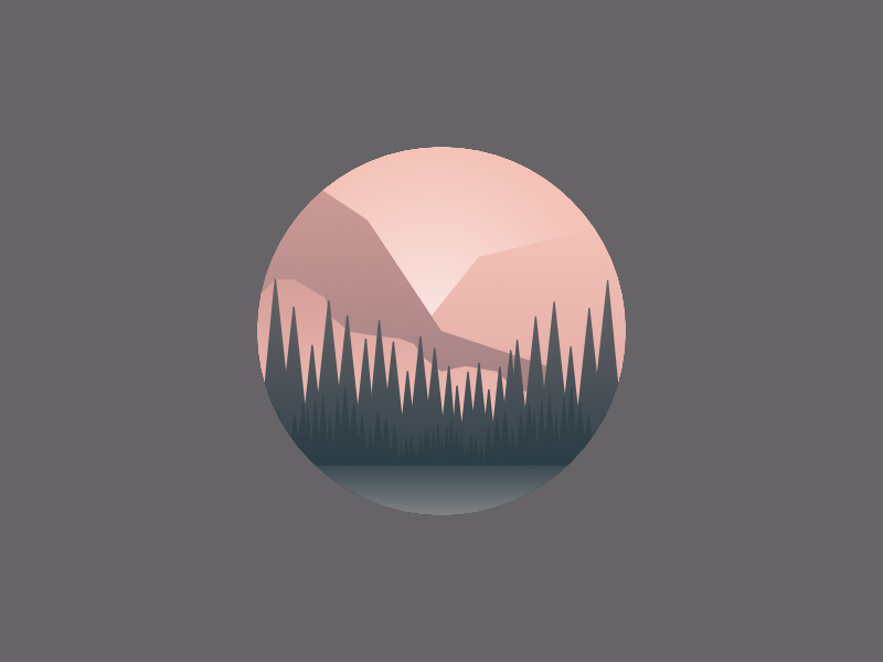 Forest lake trees mountain gradient enviroment pastel duotone color vector simple flat