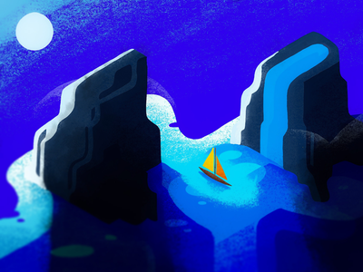 River Illustration graphical lighting shadow mountain night moon contrast boat monument valley river canyon design simple illustration procreate procreate5