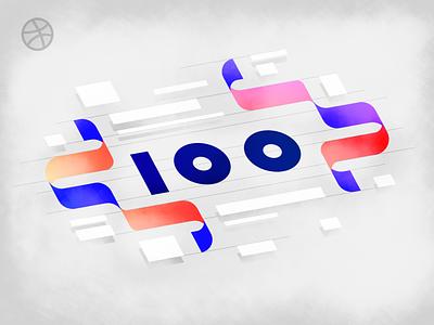 100 FOLLOWERS! typography minimal branding pastel illustration color vector design flat simple
