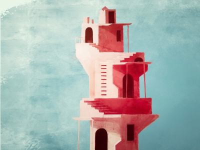Tower procreate vibrant stone old vintage faded rustic blue yellow pink architecture building pastel color illustration design flat simple
