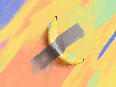 Banana Art funny poster fine art procreate art procreate banana painting color illustration flat simple