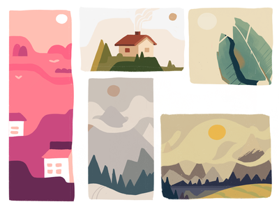 Color Scheming for Postcards (Work In Progress) colourful design mountain schemes rustic graphics color