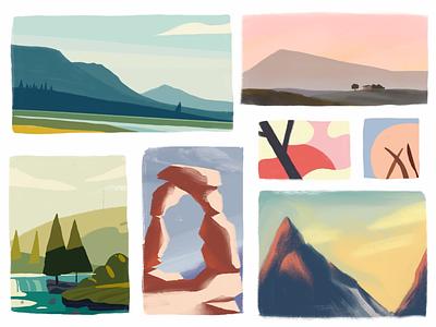 Color Schemes for Postcards: Part 2 (Work In Progress) paint gouache color schemes ideas drafts design landscape portrait canvas color painting