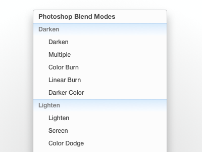 Photoshop Blend Modes - Menu Cheat Guide