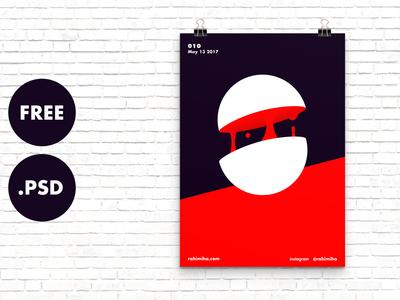 Free Minimal Poster Mockup [PSD]