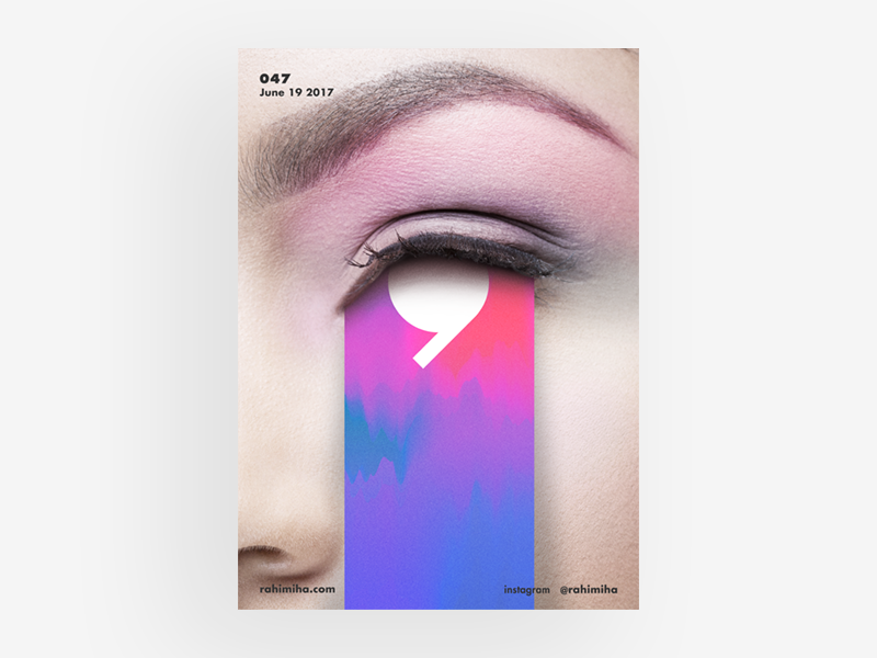 Day 047 colorful colours color eye line vector gradient poster graphic design daily