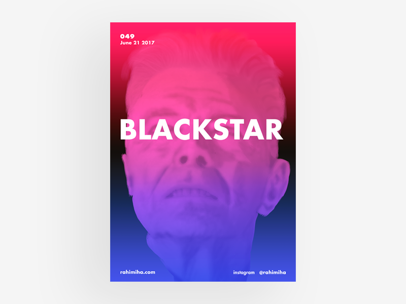Day 049 - David Bowie red digital painting blackstar david bowie blue vector gradient poster graphic design daily