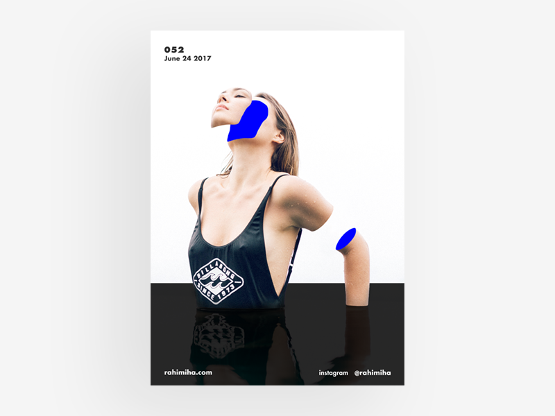 Day 052 daily graphic design poster gradient blue woman body
