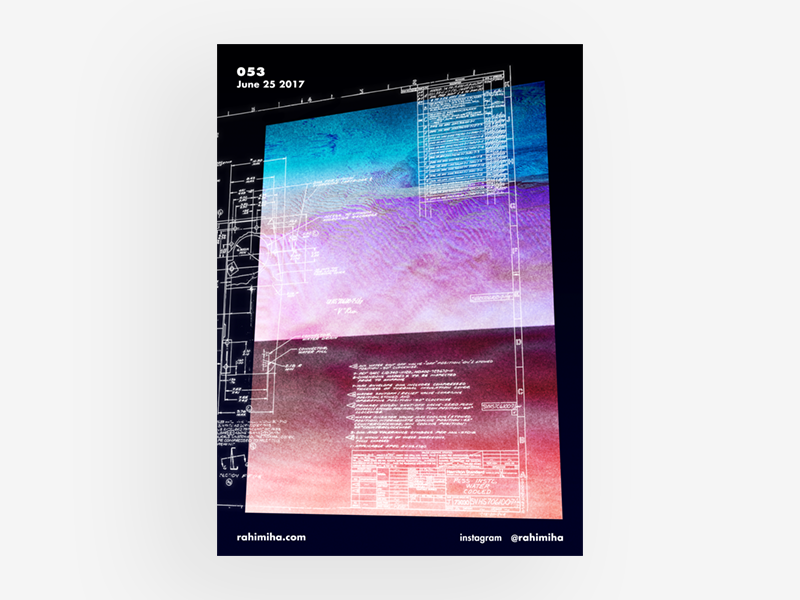 Day 053 blueprint blue gradient poster graphic design daily