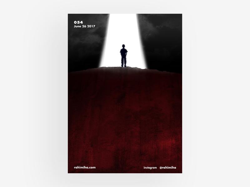 Day 054 daily graphic design poster gradient blue light alien boy