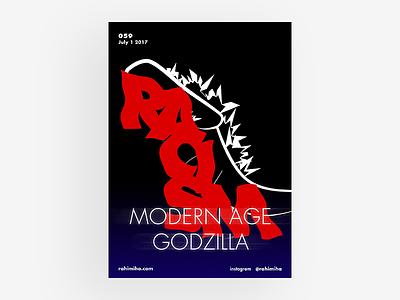 Day 059 daily graphic design poster gradient dark futura racism red godzilla