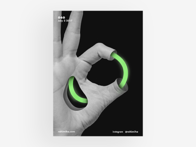 Day 060 daily graphic design poster line black and white hand light flow green