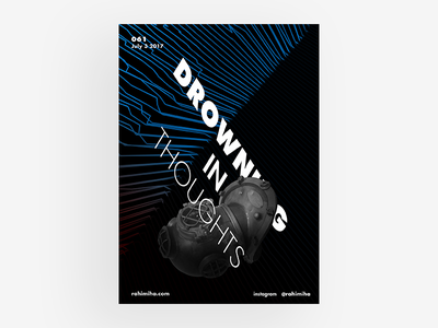 Day 061 blue drowning diving vector black and white line poster graphic design daily