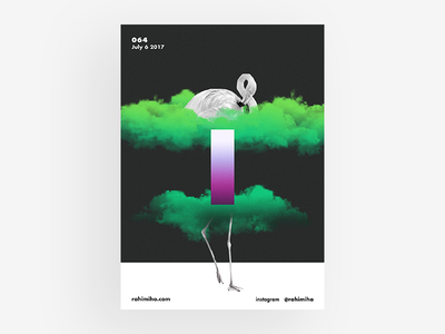 Day 064 green cloud black and white gradient poster graphic design daily