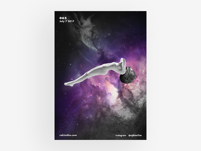 Day 065 gradient sci-fi interstellar light floated black and white astronomy poster graphic design daily