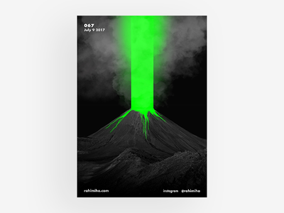 Day 067 black daily graphic design poster clouds volcano green