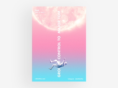 Day 069 - Space Oddity daily graphic design poster gradient vector blue space oddity blackstar falling sun astronaut pink
