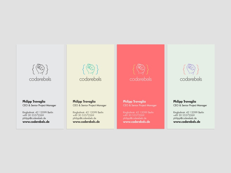 """Coderebels proposed """"Visual Identity"""" redesign colorful stationery design bussines card card pastel pastel color minimal logo"""