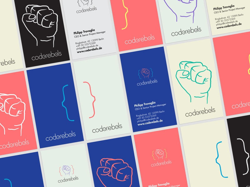 """Coderebels proposed """"Visual Identity"""" redesign diversity diverse rebellion development agency code fist pastel colors pastel pantone coloful bussines card ci vi visual identity stationery design stationery"""