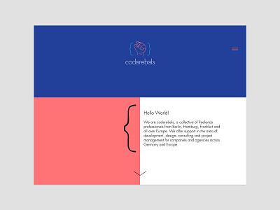 "Coderebels proposed ""UI"" redesign rebellion fist development pastel colors pastel diverse diversity development agency code minimal web deisgn user inteface ui"