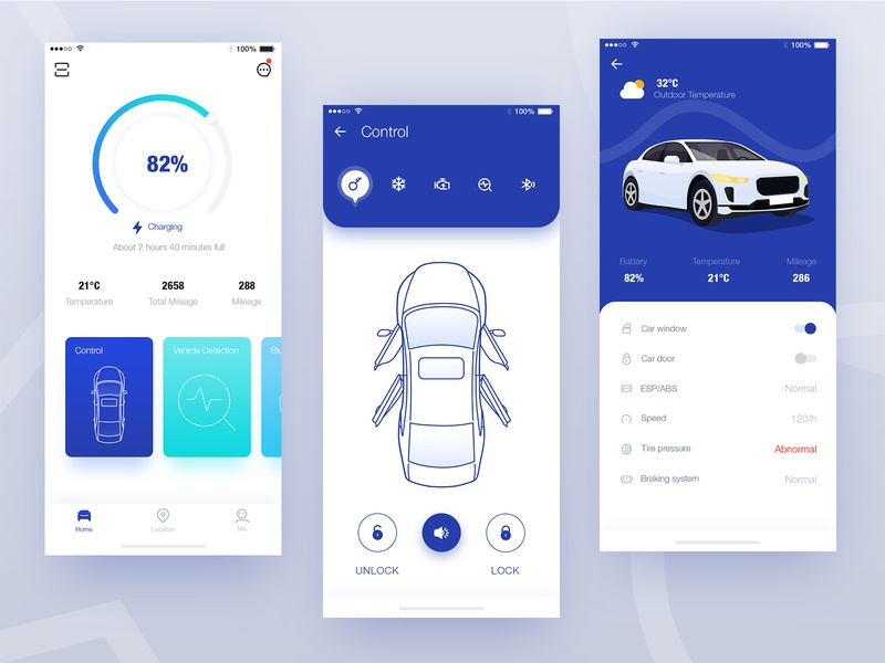 Telematics App Demo icons condition control ios app design illustration telematics car ui