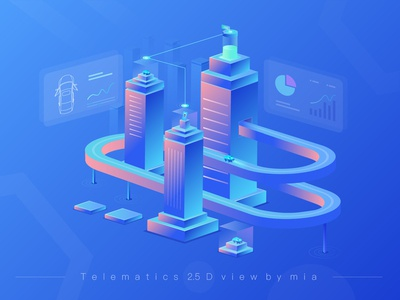 Telematics  2.5d illustration
