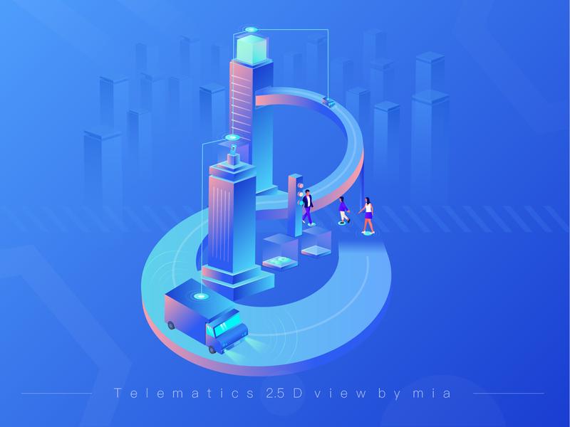 Telematics 2.5d illustration 02 design illustration car telematics ui
